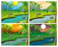 Сцены реки на 4 различных временах бесплатная иллюстрация
