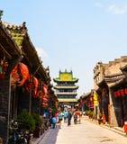 Сцен-магазины и улицы Pingyao стоковое изображение