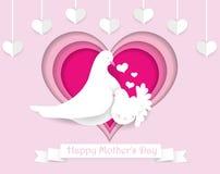 Счастливая бумага дня ` s матери отрезала поздравительную открытку Красивое tem дизайна бесплатная иллюстрация