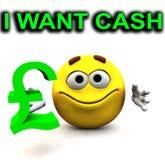 Счастливая ванта фунта я хочу наличные деньги   Стоковые Изображения