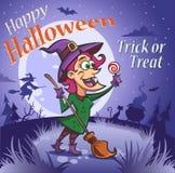Счастливая ведьма с конфетой под луной бесплатная иллюстрация