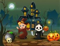 Счастливая ведьма хеллоуина и мрачный жнец перед домом бесплатная иллюстрация