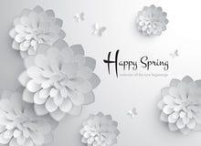 счастливая весна График вектора бумажный цветения бесплатная иллюстрация