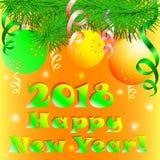 Счастливая ветвь карточки Нового Года 2018 рождественской елки с шариками Стоковая Фотография RF
