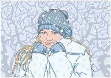 Счастливая девушка в зиме бесплатная иллюстрация