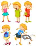 Счастливая девушка в различных положениях иллюстрация штока