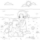 Счастливая девушка делая замок песка Вектор шаржа страницы расцветки иллюстрация вектора
