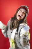 Счастливая девушка на Кристмас стоковые фото