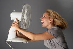 Счастливая девушка с вентилятором Стоковое Изображение RF