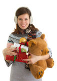 Счастливая девушка с подарками на рождество Стоковое Изображение RF