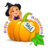 Счастливая девушка хеллоуина смешная в шляпе с знаком продажи тыквы иллюстрация вектора