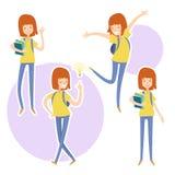 Счастливая девушка школы с книги в руке иллюстрация штока