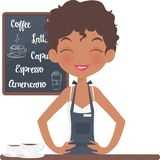 Счастливая девушка Barista усмехаясь и стоя смотрящ на ее кофейню бесплатная иллюстрация