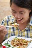 счастливая еда Стоковые Изображения