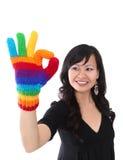 счастливая женщина блестящего успеха Стоковые Изображения RF