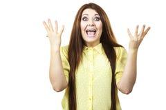Счастливая женщина выигрывая имеющ везение стоковая фотография rf