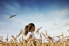 Счастливая женщина в пшеничном поле Концепция острословия свободы и единства Стоковые Изображения