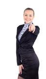 Счастливая женщина дела указывая на камеру - изолированную над wh Стоковые Фото
