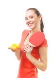 счастливая женщина пятна pong игрока PING-утилиты Стоковая Фотография
