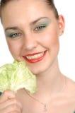 счастливая женщина салата листьев Стоковое Фото