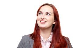 Счастливая женщина, смотря вверх Стоковое фото RF