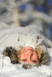 счастливая женщина снежка Стоковая Фотография RF