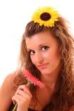 счастливая женщина солнцецвета Стоковое фото RF