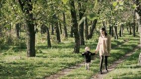 Счастливая женщина с сыном идя в парк осени видеоматериал