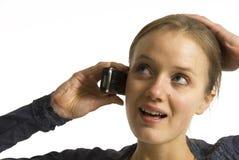 счастливая женщина телефона Стоковые Фото