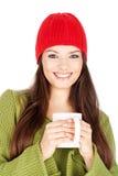 счастливая женщина чайника удерживания стоковое фото rf
