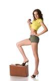 счастливая женщина чемодана стоковая фотография rf