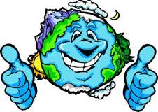 Счастливая земля планеты с большими пальцами руки поднимает шарж жеста иллюстрация штока