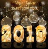 Счастливая золотая новая карта приглашения 2019 год, бесплатная иллюстрация