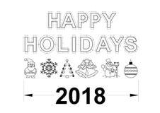 Счастливая изолированная светокопия 2018 праздников - Стоковые Фотографии RF
