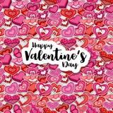 Счастливая иллюстрация дня валентинок для поздравительной открытки, приглашения партии, знамени сети Сердца стиля шаржа формируя  Стоковые Фотографии RF