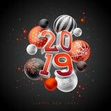 Счастливая иллюстрация Нового Года 2019 с литерностью оформления 3d и шарик рождества на черной предпосылке Дизайн праздника для бесплатная иллюстрация