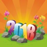 Счастливая иллюстрация 2018 Нового Года Стоковое Изображение