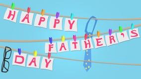 Счастливая иллюстрация поздравительной открытки дня отцов, стиль бельевой веревки Стоковое Фото