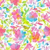 Счастливая и яркая флористическая безшовная картина с нарисованными рукой цветками и листьями акварели Стоковые Изображения