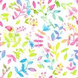 Счастливая и яркая флористическая безшовная картина с нарисованными рукой цветками и листьями акварели Стоковое Изображение