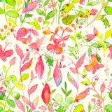 Счастливая и яркая флористическая безшовная картина с нарисованными рукой цветками и листьями акварели Стоковое фото RF
