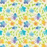 Счастливая и яркая флористическая безшовная картина с waterco нарисованным рукой Стоковые Фото