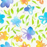 Счастливая и яркая флористическая безшовная картина с waterco нарисованным рукой Стоковое фото RF