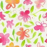 Счастливая и яркая флористическая безшовная картина с waterco нарисованным рукой Стоковые Изображения RF