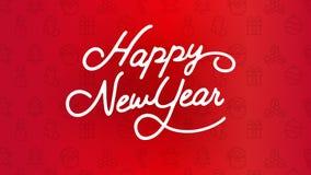 Счастливая каллиграфия оформления Нового Года Сезонная литерность знамя дизайна плана предпосылки иллюстрация Стоковое Фото