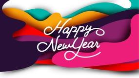 Счастливая каллиграфия оформления Нового Года Сезонная литерность знамя дизайна плана предпосылки иллюстрация Стоковое Изображение RF