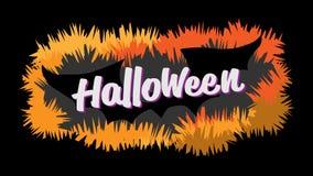 Счастливая каллиграфия оформления хеллоуина Сезонная литерность знамя дизайна плана предпосылки также вектор иллюстрации притяжки Стоковые Фото