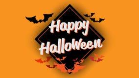 Счастливая каллиграфия оформления хеллоуина Сезонная литерность знамя дизайна плана предпосылки также вектор иллюстрации притяжки Стоковое фото RF