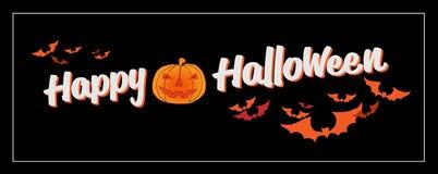 Счастливая каллиграфия оформления хеллоуина Сезонная литерность знамя дизайна плана предпосылки также вектор иллюстрации притяжки Стоковое Изображение