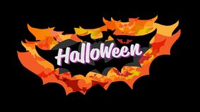 Счастливая каллиграфия оформления хеллоуина Сезонная литерность знамя дизайна плана предпосылки иллюстрация Стоковое фото RF